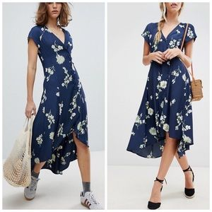 Free People High Low Midi Dress Navy Blue Floral